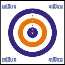 Milbro SPARE CARD TARGETS (100) Red White & Blue ( 17cm x 17cm )